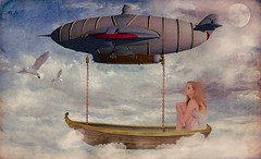 Voyage to Neverland (Swissrock) Tags: voyage sky clouds photoshop boat digitalart may manipulation fantasy deviantart photoart challenge digitalpaint 2016 faestock andykobel