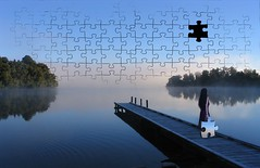 Missing Piece (kbetty) Tags: lake nature girl photoshop photography surreal puzzle concept conceptual jigsawpuzzle myedit surrealphotography conceptualphotography