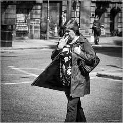 Waste not, want not (John Riper) Tags: street uk england bw woman white black monochrome liverpool canon john square photography mono zwartwit candid leftovers l 6d 24105 straatfotografie riper johnriper