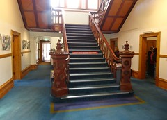 North Adelaide. The carved Edwardian style newels on the grand stair case in Carclew House. Built in 1897. (denisbin) Tags: staircase adelaide mansion newell bonython carclew