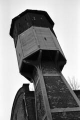 Pressure tower in Forgotten Industry - Elanex (Analog World Thru My Lenses) Tags: ricohxr7 rikenon50mmf14 ilforddelta100 forgotten abandoned industry elanex częstochowa