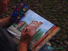 in giro per la citta' (Melvintay) Tags: pittura pittore acquarelli artedistrada coloricolorati bolognasantostefano artistideicolori