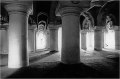 Tirumalai Nayak Palace - Madurai - India 1995 (JJ_REY) Tags: bw india film architecture analog nikonfe madurai tamilnadu argentique inde 50mmf14ais tirumalainayakpalace