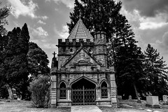 Buckland Memorial Chapel (Crunch53) Tags: park bw cemeteries cemetery outdoors oak memorial scenery michigan ottawa hill chapel pontiac hdr buckland