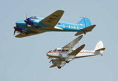 G-AHKX, G-AGSH (Skidmarks_1) Tags: uk airport bea unitedkingdom aircraft aviation dh89adragonrapide egth gahkx gagsh avoanson