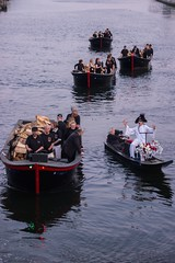 Boat Procession (waterfireprov) Tags: river woodboat michaelgrando boatprocession wfvolunteer bankofamericalighting