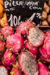 Dragon Fruit - Pitaya (elzauer) Tags: wien leica stilllife food shop retail closeup fruit austria colours market multicoloured business backgrounds fullframe groceries selling abundance foodanddrink variation freshness jackfruit marketstall purity tropicalfruit vibrantcolor healthyeating brightcolour vegetarianfood viennaaustria pitaya traveldestinations healthylifestyle at pinkcolor commercialsign leicaq retailplace naschmarktvienna businessfinanceandindustry