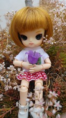 A flower? (-nickless-) Tags: outdoors doll little dal mueca rotchan minidal gozoki obitsu11cm