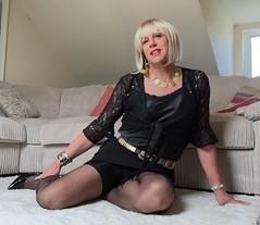 Black satin and lace (bethany_labelle) Tags: black mini tgirl blonde transvestite satin crossdress stilettos camisole