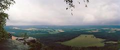 Blick vom Lilienstein ber die Ebenheit in Richtung Rathen/Bastei (falkschtze) Tags: noblex panorama kodakektar100 analog filmisnotdead rathen bastei schsischeschweiz