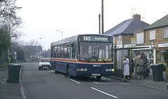 TWM 1343, Castlecroft, Wolverhampton, 1996 (Lady Wulfrun) Tags: twm volvo b10b 1343 n343woh castlecroftroad castlecroft wolverhampton 12th february 1996 travel westmidlands bus busstop people passengers loading boarding 543 wright