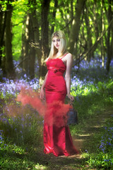 Mystic forrest (BarryKelly) Tags: model girl blue bell silk satin forest path red smoke lantern ireland wexford blonde dress evening gown green mystic