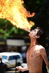 Fire breathing young man.... (tvdflickr) Tags: man male georgia fire nikon flames flame streetperformer marietta youngman firebreathing d610 mariettageorgia spittingfire nikond610 photosbytomdriggers photobytomdriggers thomasdriggersphotography