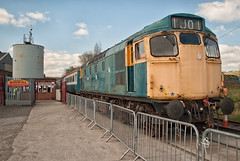 British Rail Class 27 27066 (Barry Duffin) Tags: uk england sky heritage clouds train photography nikon br diesel rail railway bluesky trains locomotive britishrail type2 class27 barrowhill 27066 d3000