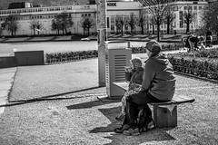"""Lunch break"" - Street Photography (Terje Helberg Photography) Tags: park street city grandma summer urban blackandwhite bw monochrome norway bench lunch town break child candid citylife streetphotography samsung bergen bnw visitnorway nx1000 visitbergen"