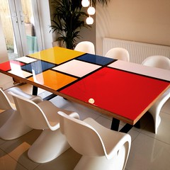 Piet Mondrian inspired dining table made from Birch ply (lukeelmer) Tags: art table diy chair resin pietmondrian vernerpanton birchply apoxyresin