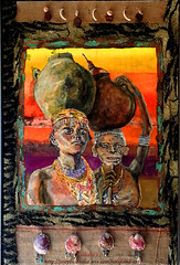 Out of Africa VI - large oil and mixed media (claudia.joseph16) Tags: africa men art mixed media colorful paint oil jars carrying nubian