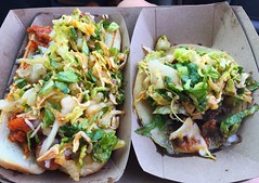 Hot dog and Taco at Koji (deeeelish) Tags: vegetables hotdog pork lettuce taco kimchi koji
