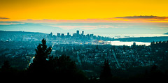 City View (Sworldguy) Tags: ocean park trees sunset sky orange tourism skyline port landscape coast seaside haze nikon downtown cityscape bc outdoor dusk britishcolumbia wideangle burnaby burnabymountain dslr shipyard heights westcoast capitolhill tankers cityscene vancouverharbour d7000
