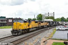 Ns 7243 heads through Marion Ohio. (Machme92) Tags: railroad ohio sky up clouds nikon ns norfolk rail marion rails ge railroads norfolksouthern emd railfanning dash9 railfans sd90mac unionpacifc d7200 ns90 nikond7200