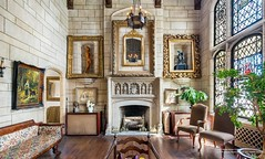 New York Gramercy Park North $6.5 Old World interior room (techpro12) Tags: manhattan apartment historic room oldworld interior vintage stainedglass fireplace mantle mantel picture window unionsquare
