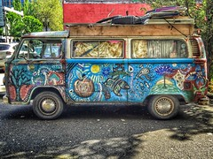 Magic Bus (Ian Sane) Tags: street old 6 southwest bus art apple smart oregon vintage wednesday volkswagen portland ian town downtown hand phone painted cell images 2nd vehicle ash plus avenue six app whimsical magicbus iphone sane phoneography iphoneography snapseed