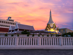 Temple at beautiful sunset (Evgeny Ermakov) Tags: city travel sunset red vacation sky nature colors beautiful beauty yellow clouds landscape asian thailand religious temple gold golden asia southeastasia view bangkok buddha buddhist religion dream culture buddhism landmark scene holy exotic destination southeast wat th touristic krungthepmahanakhon buddhistic