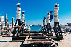 Heads Up (toletoletole (www.levold.de/photosphere)) Tags: blue sky italy fuji himmel blau shipyard puglia dockyard monopoli werft apulien xpro2 fujixpro2