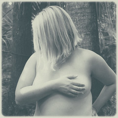 Hidden Treasures (Au_Naturale_Light) Tags: blackandwhite woman nature monochrome beauty sex female vintage naked nude square polaroid breast tits skin boobs outdoor body lofi erotica faded human blond anatomy topless blonde nudist naturist grainy sexuality risque fauxvintage handbra femine outdoornude nudeinnature ccup coverednude vsco vscofilm