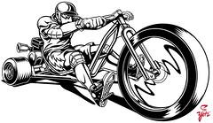 Trike B W (yotzstudios) Tags: green art childhood bike wheel illustration scott logo fun design big drawing picture machine retro trike illustrator studios motorized drift yotz youtsey