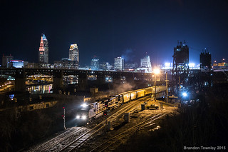 Norfolk Southern in Cleveland, Ohio at Night