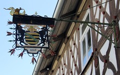 1649. - Former pub and townhall (:Linda:) Tags: germany bavaria year lion bluesky franconia tulip halftimbered pubsign fachwerk formerpub 1649 meeder