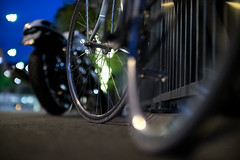 Wheels (akarakoc) Tags: blur 35mm lights fuji bokeh wheels crop parked sensor motorcyle f095 mitakon xt1 cropsensor
