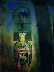 Cloisonn Vase and Flora at Night (jimlaskowicz) Tags: painterly flower art window night vintage dark flora shadows artistic blues textures vase layers