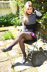 Sat outside thinking maybe I should do my sessions outside in the sun today (Miss Nina Jay) Tags: body tights heels trannie