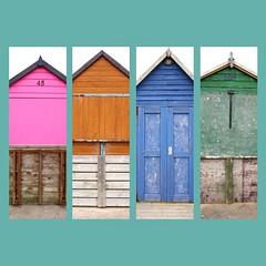 Beach huts, Hamworthy, Dorset, England (a.pierre4840) Tags: wood england texture beach colors lines collage architecture composition wooden colours 11 panasonic squareformat dorset beachhuts f25 14mm hamworthy gm1 phototasticcollage