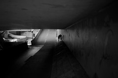 Preparing (maekke) Tags: urban bw man canon underground 50mm graffiti switzerland noiretblanc availablelight f14 streetphotography zrich jogging jogger ch 2016 eos6d