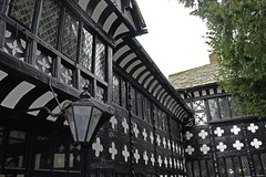 Speke Hall Timbers (big_jeff_leo) Tags: wood house lamp liverpool hall courtyard historic stately timberframed