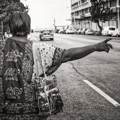 hailing a cab (Gerard Koopen) Tags: cuba havana habana bw blackandwhite taxi hailingacab woman straatfotografie streetphotography straat street fujifilm fuji xpro1 35mm 2016 gerardkoopen