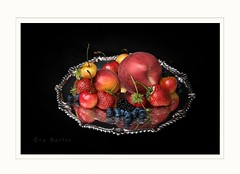 Time of plenty (Krasne oci) Tags: original summer stilllife reflection classic fruit silver strawberry colorful blackberry artistic antique apricot elegant photographicart blueberries onblack artphoto whitepeach 8213 beautifulphoto rainiercherries evabartos