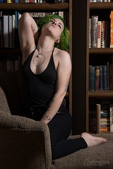 Jessi (austinspace) Tags: portrait woman green tattoo hair studio washington model spokane lounge bookshelf bookcase chaise faintingcouch