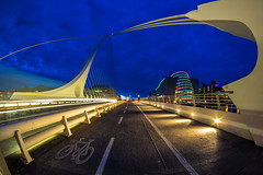 Samuel Beckett Bridge - No. 2 - Dublin (K.H.Reichert) Tags: bridge dublin reflection architecture night river nightshot irland liffey calatrava architektur bluehour brcke fluss blauestunde nachtfoto cablestayedbridge schrgseilbrcke