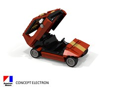 AMC Concept Electron - 1977 (lego911) Tags: amc concept electron 1977 1970s american motor corporation classic auto car moc model miniland lego lego911 ldd render povray usa america electric battery atom physics lugnuts challenge 104 thescienceofitall science