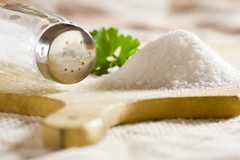 Sea salt (blogbold) Tags: wood sea food brown white detail macro texture cooking kitchen crystals flavor herbs eating spice grain salt cook plate dry health shaker mineral organic cloth aromatic heap aroma ingredient saltcellar granular