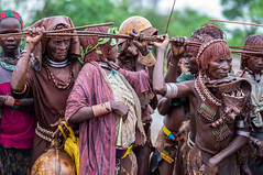 Hamer Woman during a Bull Jumping Ceremony, near Dimeka, Omo Valley, Ethiopia