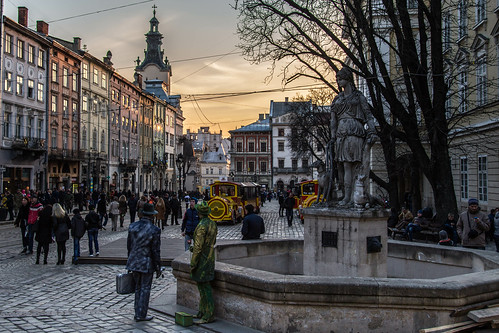 Sunset in Rynok Square. Lviv is a truly colorful city.