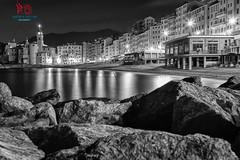 Spiaggia di Camogli di notte (Andrea Gallino) Tags: light love church mare liguria chiesa luci camogli bianco spiaggia scogli sogni ner
