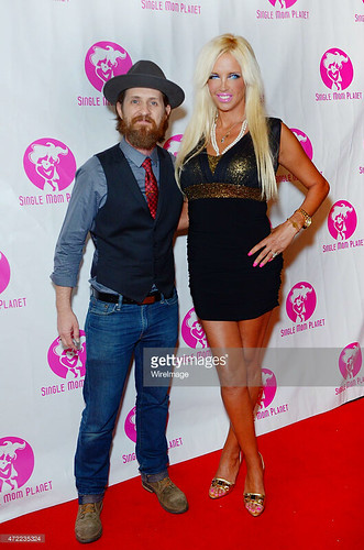 Actor Brad Carter and actress Sandrine Chelly attend Single Mom Planet 2015 Mom Awards Dinner at Maggiano