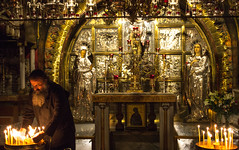 Tending the Candles, Greek Orthodox Altar in the Church of the Holy Sepulchre (marylea) Tags: history church religious israel ancient jerusalem christian holy historical churchoftheholysepulchre greekorthodox 2015 may11