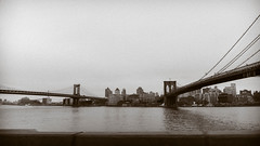 Two Bridges, East River (Jeffrey) Tags: street city nyc newyorkcity bridge urban ny newyork brooklyn river design spring highway downtown riverside manhattan may cities bridges brooklynbridge manhattanbridge eastriver fdrdrive fdr 2016 twobridges may2016 spring2016